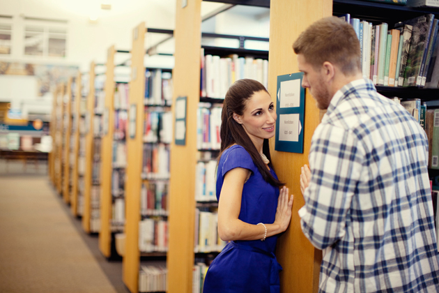 Portraits in the library-illustrative wedding photographer